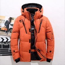 High quality men's winter jacket thick snow parka overcoat white duck d
