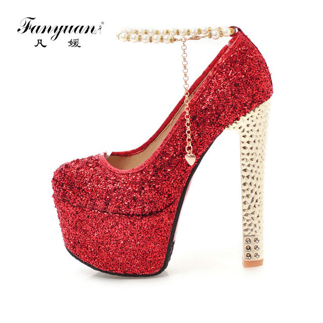 3c11db39f0a0 Fanyuan Luxury Design Bling Leather Ladies High heels Pearl Buckle Mary  Jane girl s evening shoes String Bead Party Wear Heels