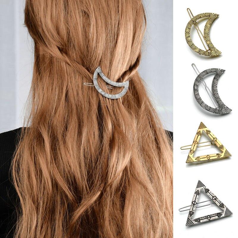 Metal Star Moon Shape Hair Clips Retro Hair Claw Silver