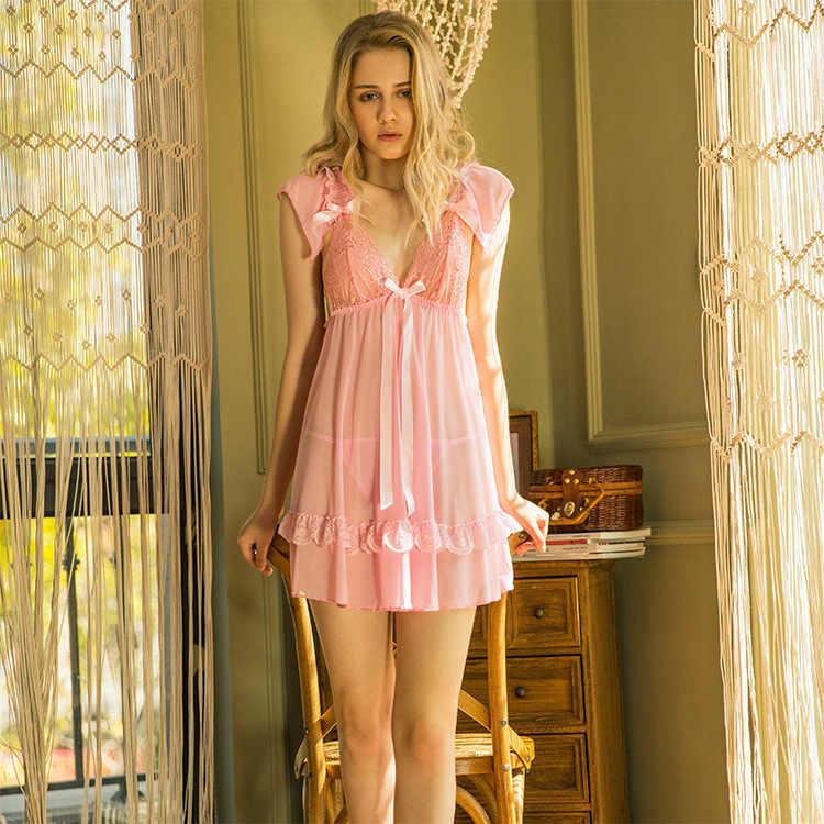 Большие размеры 6xl 7xl нижнее белье женское прозрачное Тюлевое кружевное Ночная рубашка на бретелях сетчатая перспективная Пижама пикантные эротические шифоновые слипы