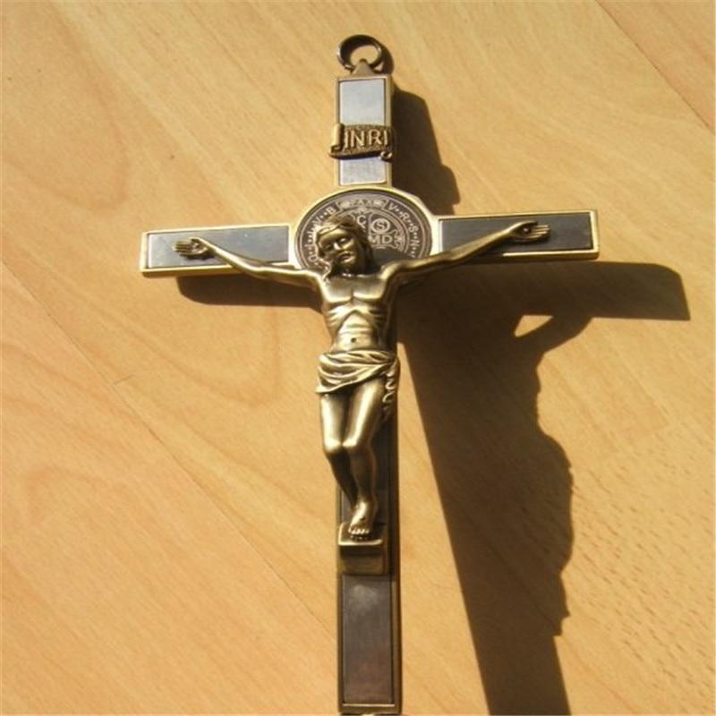Bůh žehnej stojící slitiny krucifix Ježíš svaté tělo kříž - Dekorace interiéru