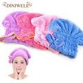 Womens girls señora magic towel head wrap sombrero de secado rápido del baño del pelo gorro de baño cosméticos de maquillaje herramienta tq-br012