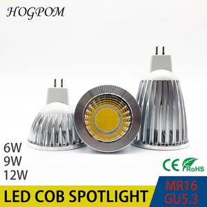 Новый высокомощный лампада СИД MR16 GU5.3 COB 6w 9w 12w Диммируемый СИД Cob прожектор Теплый Холодный белый MR 16 12V лампа GU 5,3 220V