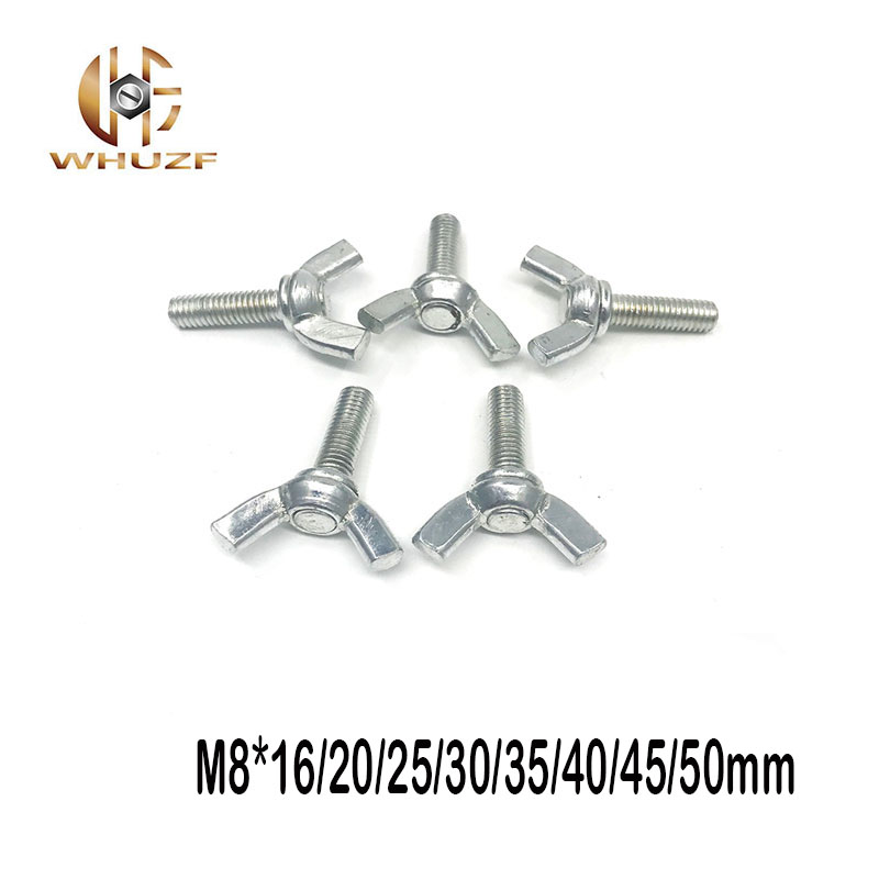 10pcs <font><b>M8</b></font> Grade4.8 Butterfly <font><b>Bolt</b></font> Fastener Twist Wing Screw Claw Thumb Blots 304 Stainless steel <font><b>M8</b></font>*16/20/25/30/35/40/45/50mm image