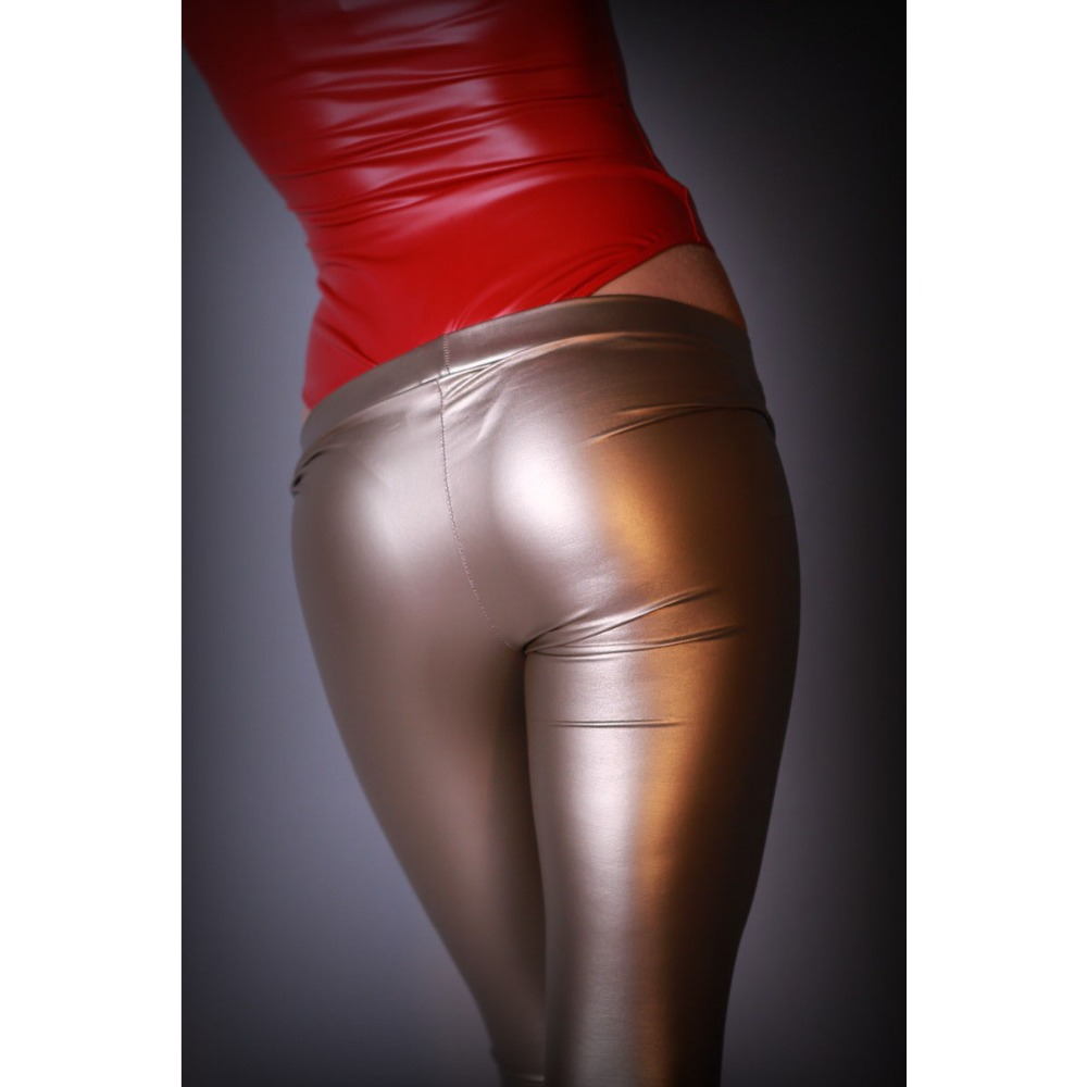 Sexy Charming High Elastic PU Casual Legging Women Faux Leather Pencil   Pant   Mid Waist Bodycon Solid   Capris   Shiny Streetwear   Pant