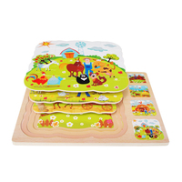 Baby Learning Educational Wooden Toys Multiple Puzzle Jigsaw Board Fairy Tale Fable Story Animal Matching Kids