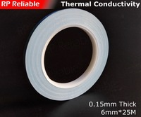1x 6mm 20M 0 25mm 2 Sides Sticky Thermally Conductive Tape Glass Fiber Base For PCB