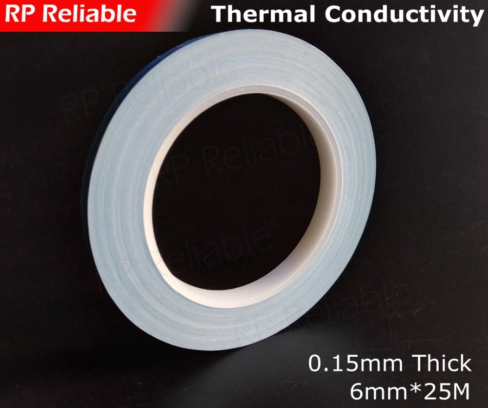 1x 6mm*20M*0.25mm 2 Sides Sticky Thermally Conductive Tape Glass Fiber Base for PCB LED Module, Heatsink Heat, Cool Device Joint glass fiber tape measuring scale of 20 meters tape measurement tools