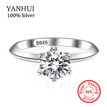 Big Promotion 100% Pure Silver Rings Jewelry Clear 6mm CZ Diamond Engagement Female Finger With 925 Stamp JZR925
