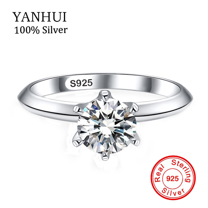 YANHUI Fine Jewelry 100% Solid 925 Silver Rings Inlay 6mm CZ Diamant Engagement Rings Female Finger Rings With S925 Stamp JZR003