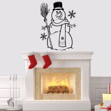 цена на Snowman Vinyl Wall Sticker Merry Christmas Wall Decal Snowflake Home Decor Cute Snowman Wall Art Mural Winter Stickers AY1742