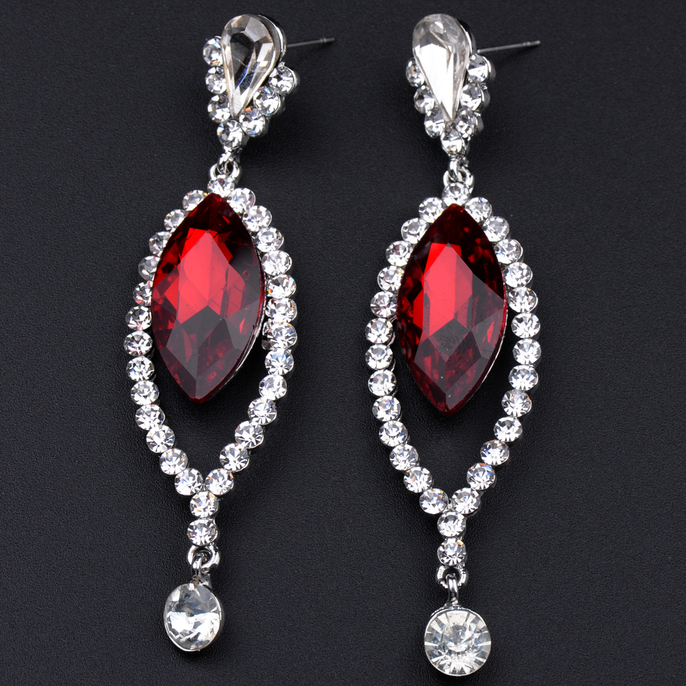 Wedding Earrings White Gold: MYTHIC AGE Luxury White Gold Color Big Red Crystal Wedding