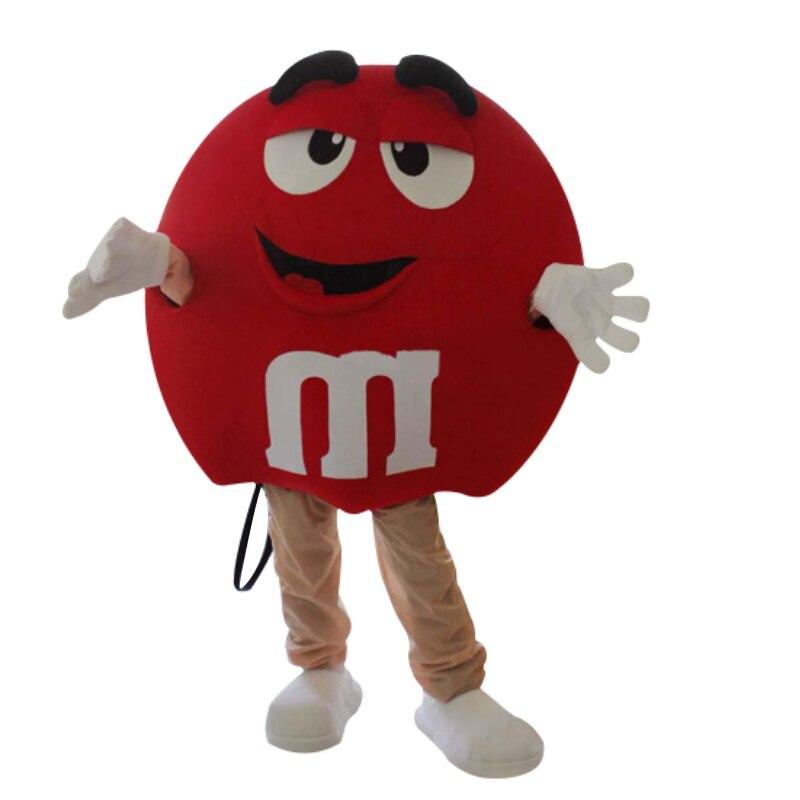 Новый M & M шоколадный конфетный красный и желтый маскарадный костюм радужные бобы милый маскарадный костюм бесплатная доставка