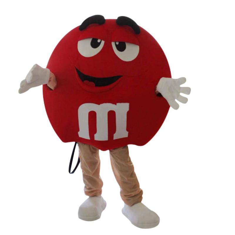 Brand New M&M Chocolate Candy Red and yellow  Mascot Costume Rainbow Bean Cute Mascot Costume Free Shipping