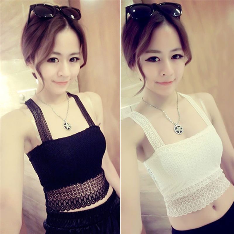 2018 Women Ladies Sexy Lace Padded Bra Crop Top Black White Vest Sleep Leisure Bralette Intimates Padded Tank Top Caimsole Tops