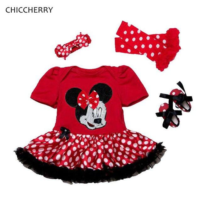 23ab7db64e4ed Ensemble Minnie Bebe Fille Rouge Petti Barboteuse Robe Bandeau Jambières Chaussures  Bébé Fille D été