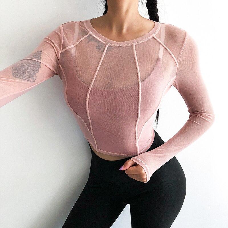 Ginásio de Esportes Camisas de Manga Longa de Fitness Mulheres Sexy Perspectiva Desgaste Super Yoga Quick Dry Activewear Patchwork Esporte Top Colheita