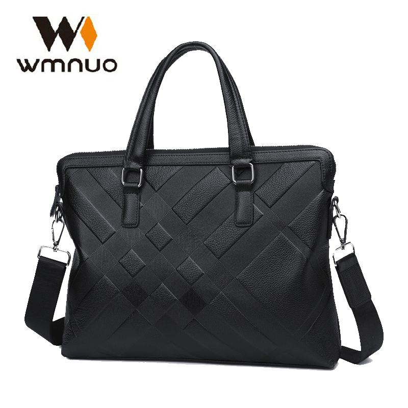 Wmnuo Men Briefcase Bag Handbag Genuine Cow Leather Laptop Bag Casual Man Shoulder bags Men Messenger Business Computer Bag 7002 2017 men casual briefcase business shoulder bag genuine leather messenger bags computer laptop handbag bag men s travel bags