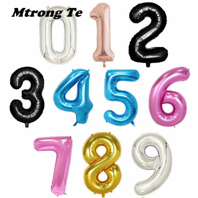 1pc 40 Pink Gold Silver Blue Rose Gold 30th Birthday Balloon 0-9 Number Figure Balloons Foil Helium Balloons Birthday Party