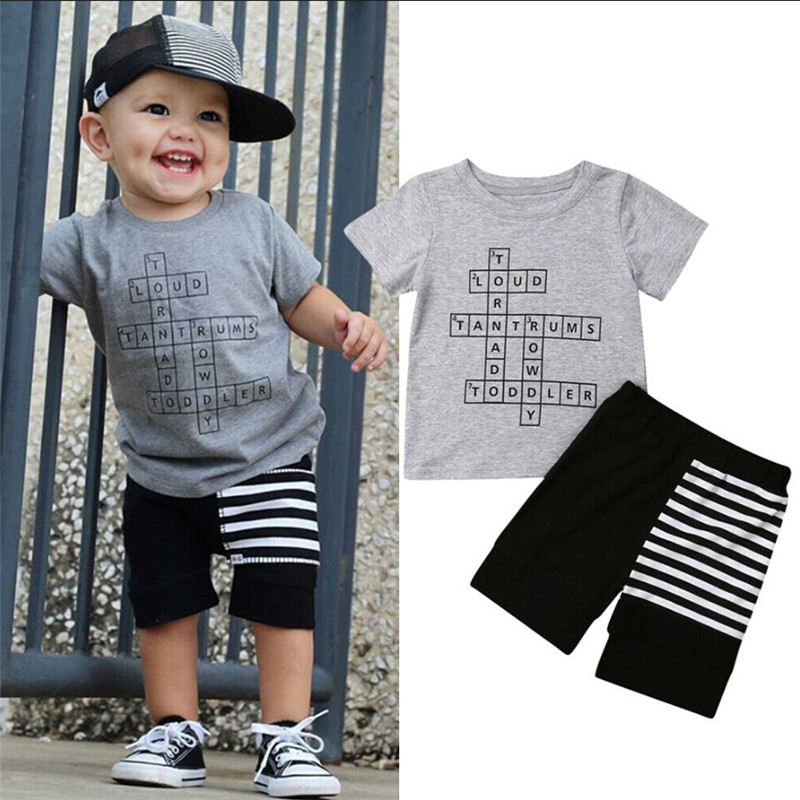 Boy Short Sleeve T-Shirt and Shorts Kid 2 Pcs Summer Outfit Clothing Set /…