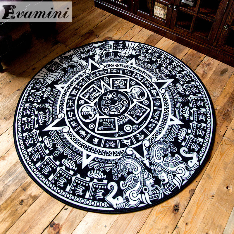 Vintage National Style Mayas Revival Black And White Round Carpet Living Room Coffee Table Bedroom Bedside Mats Study Personali