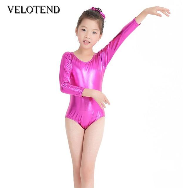 ab2e2d7d3b35 Girls Shiny Metallic Long Sleeve Leotards Gymnastics Spandex One ...