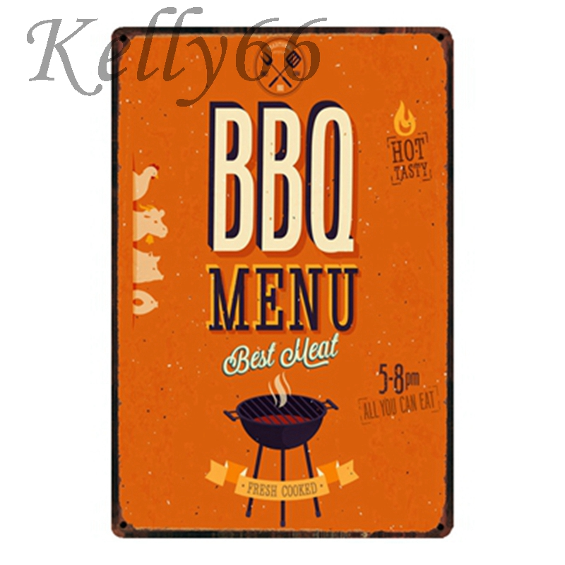 Bbq Menu Metal Sign Tin Poster Home Decor Bar Wall Art Painting 20*30 Cm Size Y-1776 Refreshment Kelly66 Realistic