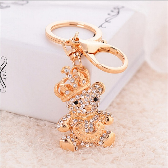af5da8b708be3 Crystal Crown bear keychains lovely alloy Gold Plated animal cartoon key  chain for girl key rings