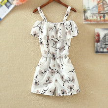 Summer Womens Floral Print Chiffon Playsuit Beach Strap Sleeveless Rompers Ruffles Party Short Jumpsuit Mujer Fiesta