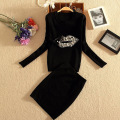 Winter 2pcs Set Women Sexy Beaded Lips Pattern Butterfly Sweater Jacket Wrap Hip Skinny Skirt Winter Suits for Women