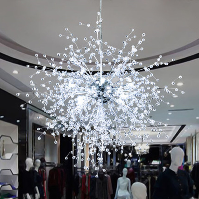 Modern Led Crystal Chandeliers Dandelion Lighting Firework Sparkle Ball Hanging Lamp Re Luminaire Light Fixtures