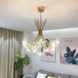 Nordic Loft Art dmuchawiec kryształowy żyrandol nowoczesne ciepły sypialnia restauracja salon Cafe G4 Led wiszące oprawy oświetleniowe