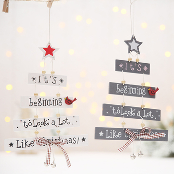 Creative Christmas Tree Hanging Pendants New Year Home Wall Door and Tree Decoration Christmas Nordic Wooden Ornaments for Party dřevěné dekorace do dětského pokoje