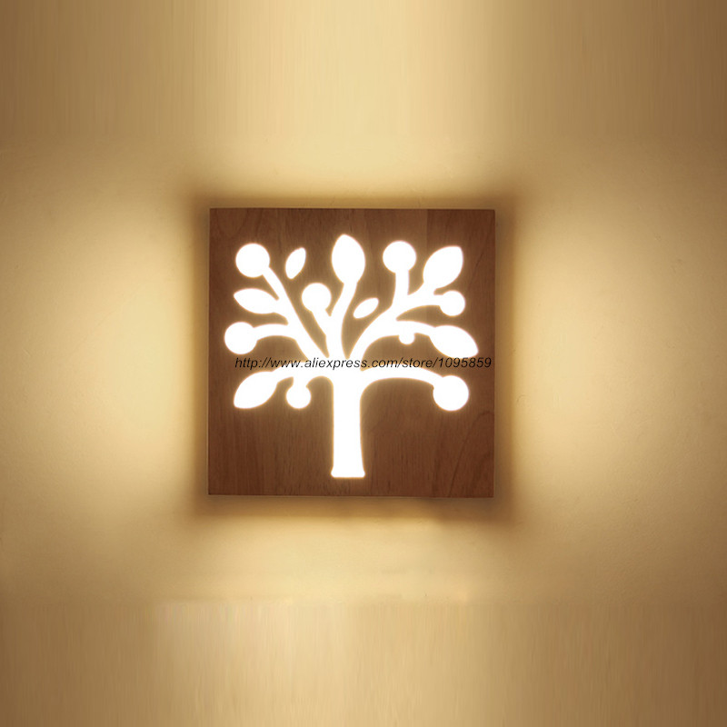 modern apple tree wood led wall lamps lights bedroom square acrylic sconces - Wall Lamps For Bedroom