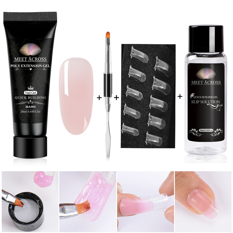 MEET ACROSS Poly Extention Gel Kits Nail Art French Nail Clear Camouflage Color Nail Tip Crystal Uv Gel Slice Brush Nail(China)