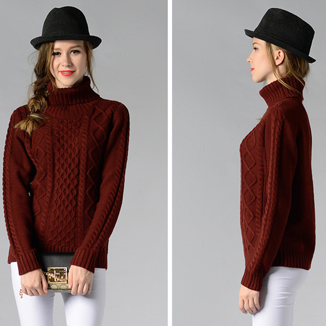 female winter autumn pullover turtleneck knitted full sleeve warm loose sweater #fashion #winter #autumn 3