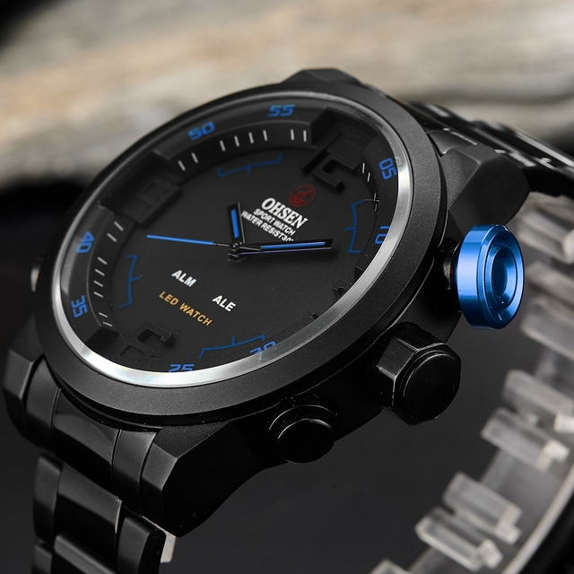 7f721bea6d0 Nova OHSEN Digital Quartz Men Relógios Masculino Presente Azul mostrador  Preto 30 M Moda À Prova