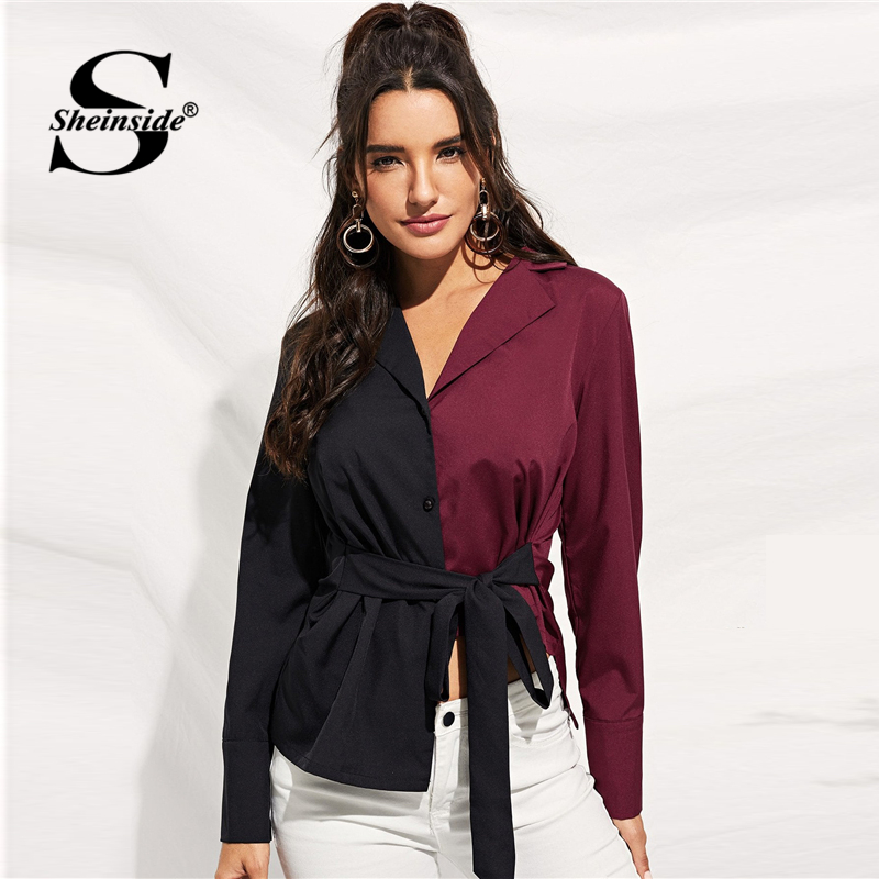 Sheinside Notched Collar Colorblock Blouse Women 2019 Spring Elegant Asymmetric Hem Belted Blouses Casual Single Breasted Shirt