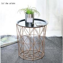 Современная Роза Золотая круглая проволока металлическая корзина для хранения столик