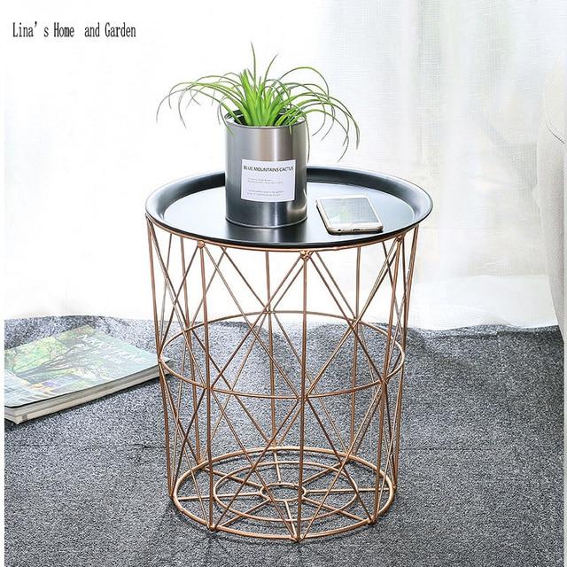 Modern Rose Golden Round Wire Metal Storage Basket Side Table