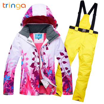 Ski suit for women thicken waterproof windproof breathable outdoor Moutain Sport jumpsuit winter suit women  Printed Sportswear