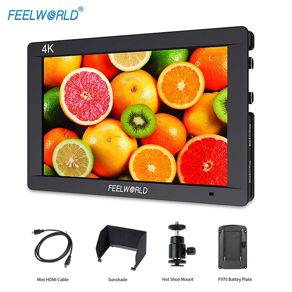 Feelworld FW703 7 Inch 3G-SDI 4K HDMI Monitor 7 IPS 1920x1200 Full HD Camera Field Monitor with Histogram Peaking Focus Zebra