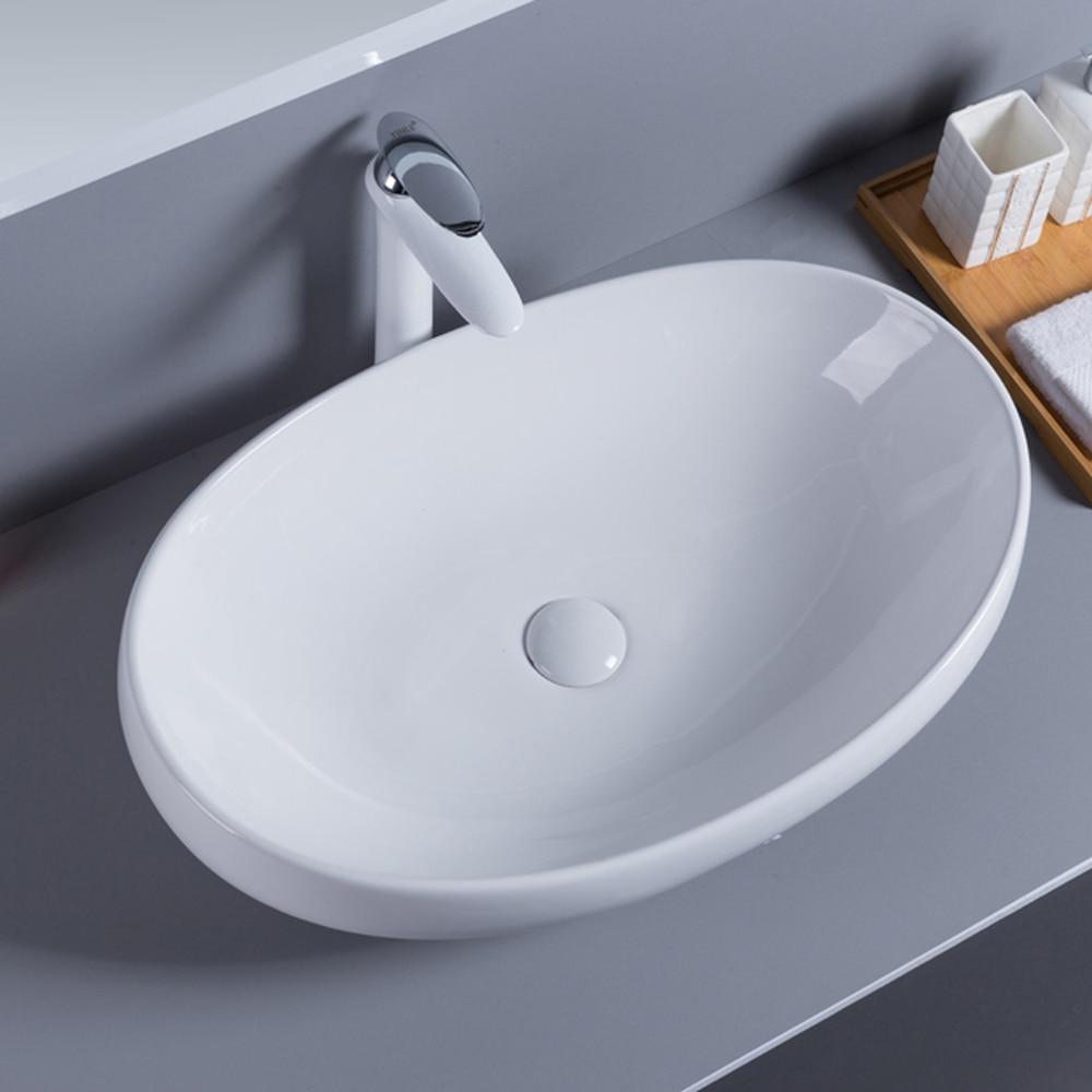 Personnalité nordique grand ovale lune bateau lavabo évier au-dessus du comptoir bassin LO612422