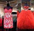Duas peças de luxo talão laço vermelho Quinceanera 2016 vestido de baile destacável Train meninas doce 16 princesa robe de mariage
