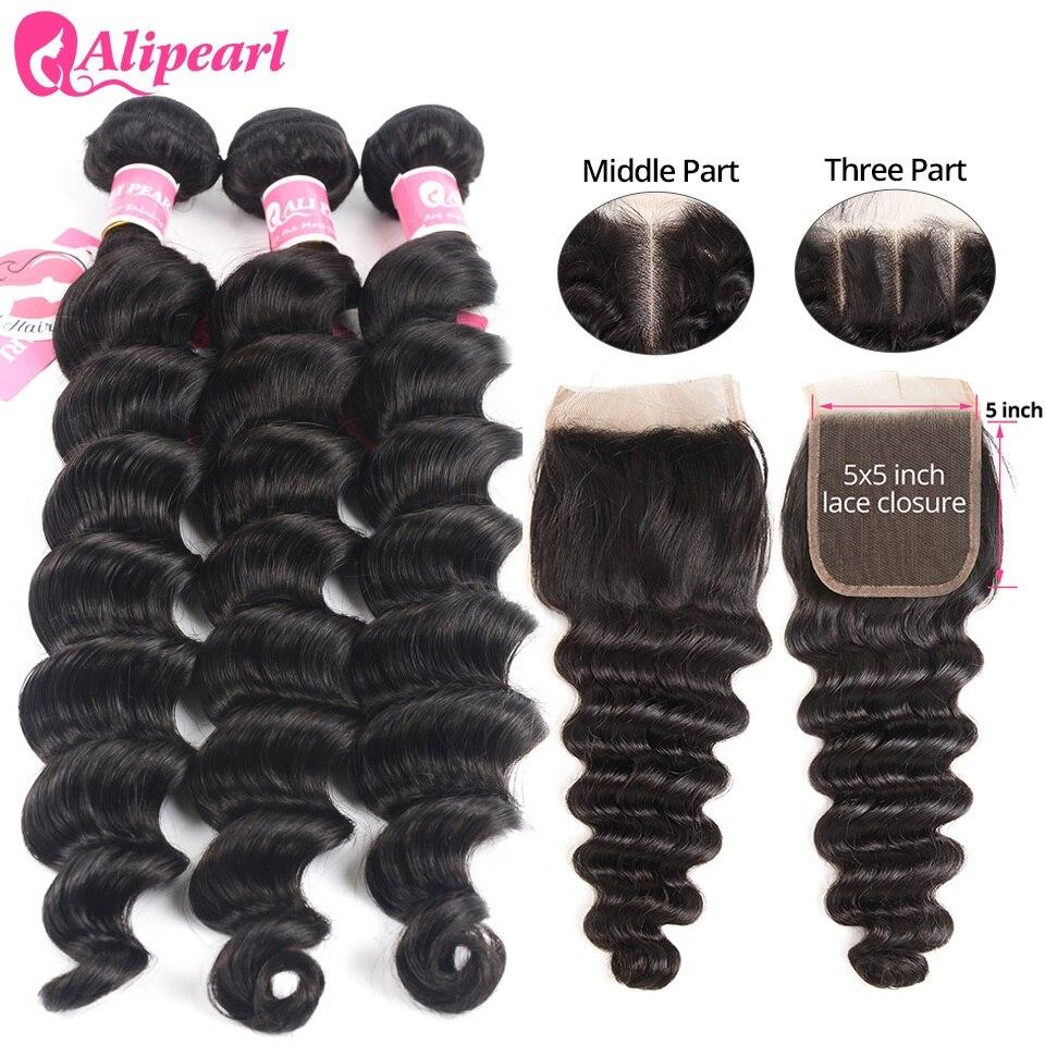Loose Deep Wave Bundles With 5x5 Closure Free Part Brazilian Human Hair 3 Bundles With Closure Remy Hair Extension AliPearl Hair