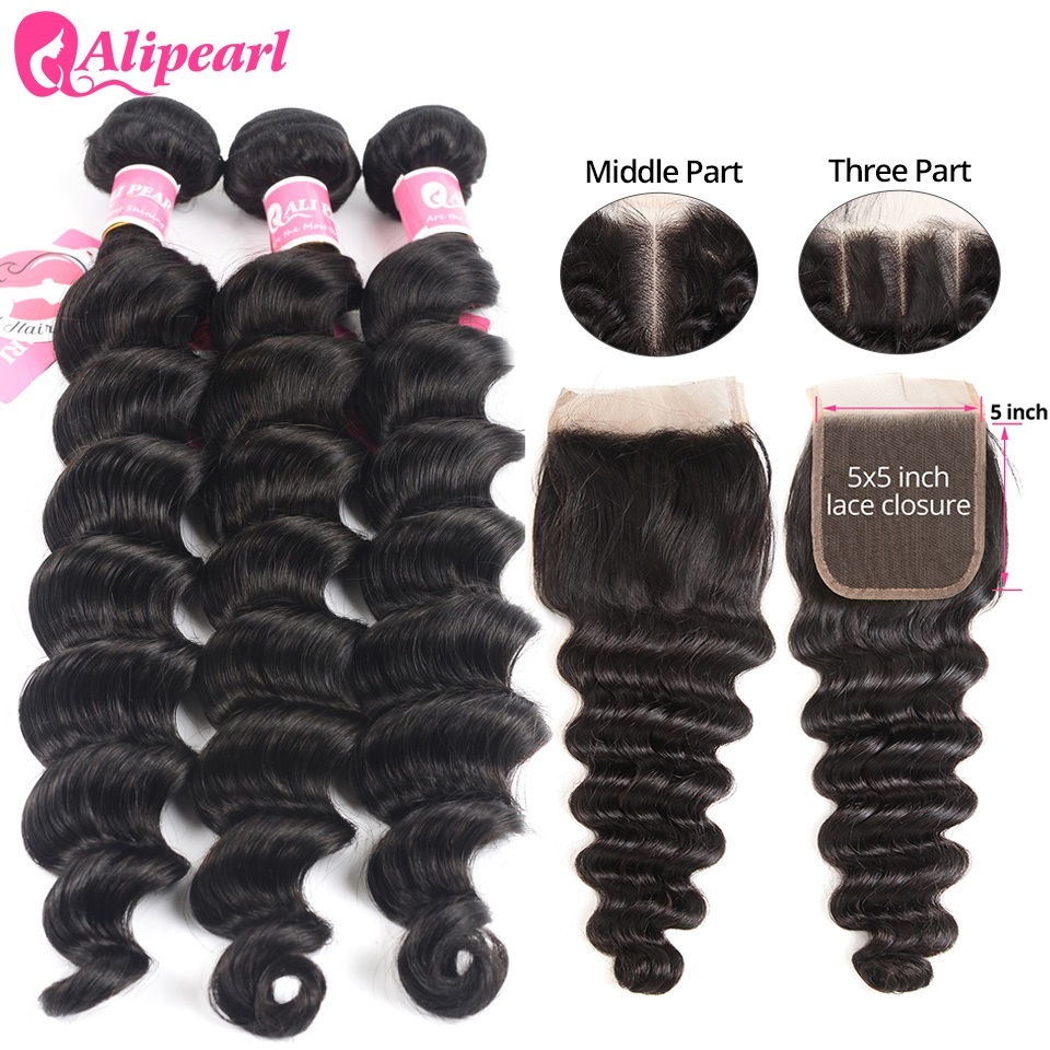 Loose Deep Wave Bundles With 5x5 Closure Free Part Brazilian Human Hair 3 Bundles With Closure Remy Hair Extension AliPearl Hair