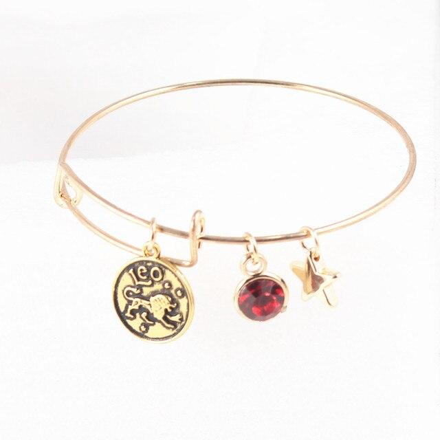 Fashion 12 Zodiac Signs Adjule Wire Bracelet Constellations Birthstones Charm Bracelets Jewelry