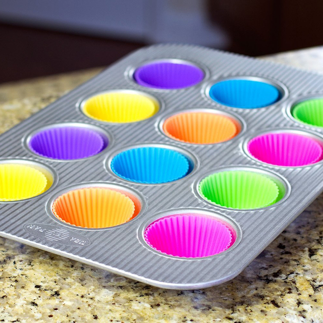 Silicone Baking Cups Cupcake Liner 48 Reusable Muffin Molds in