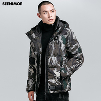 Seenimoe 2019 Male Winter Wram Parkas Windproof Winter Jacket Men Camouflage Hooded Thicken M 4XL Camouflage Cotton Coat Outwear
