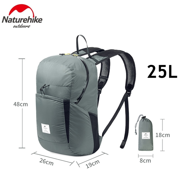 Naturehike 30D Nylon Waterproof Backpack Ultralight Shoulder Straps Folding Rucksack Outdoor Camping Sports Bags  25L
